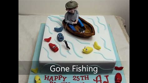 Man In Fishing Boat Cake Topper by Gone Fishing Cake Youtube