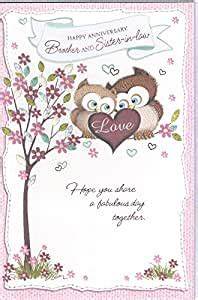 happy anniversary brother sister  law wedding wishes  card owls amazoncouk