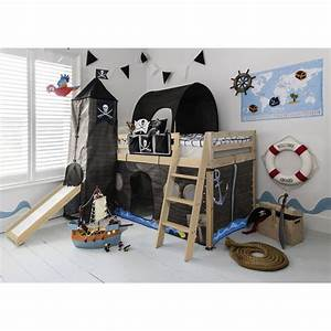 Cabin Bed with Slide Midsleeper Kids Pirate Hideaway with ...