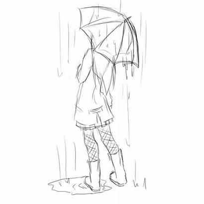 Drawing Simple Rain Sketch Cool Umbrella Drawings