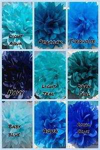 SHADES OF BLUE / 9 tissue paper pom poms / wedding ...
