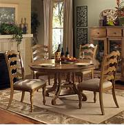 Hillsdale Hamptons 5 Piece Round Dining Room Set In Weathered Pine  BEYOND S