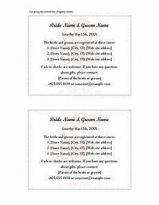 8 best images of free printable wedding registry inserts With free wedding registry card template