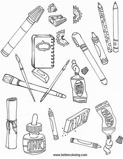 Coloring Supplies Pages Tools Painting Printable Adults