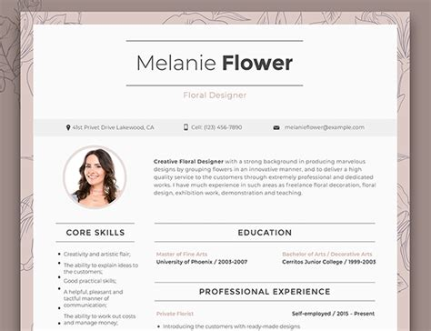 Floral Designer Resume by 15 Creative Professional Resume Cv Templates To Get