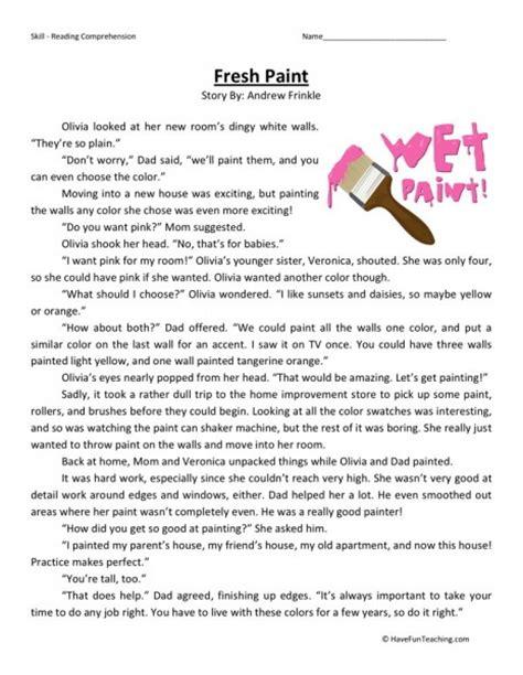 reading comprehension worksheet fresh paint
