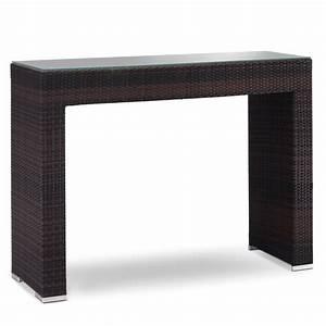 Tavolo alto da giardino in rattan con piano in vetro GT 915 ArredaSì
