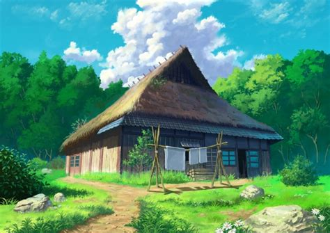 Anime House Wallpaper - wallpaper anime house forest clouds scenic grass