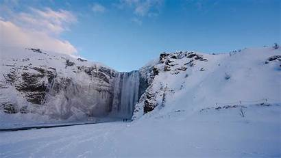 Winter Waterfall Iceland Icelandic Countryside South During