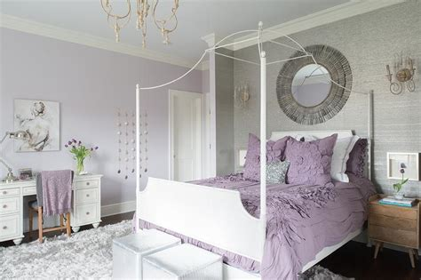 purple  gray teen girl bedroom  white canopy bed