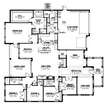 One Story House Plans With Large Kitchens by Home Plans Homepw15087 3 297 Square 5 Bedroom 3