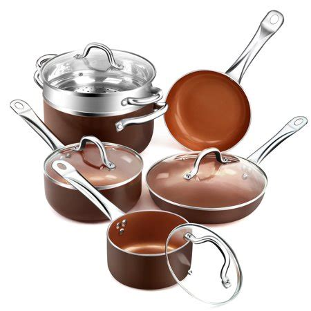 shineuri  pieces copper pans nonstick cookware set aluminum pots  frying pans cooper pan