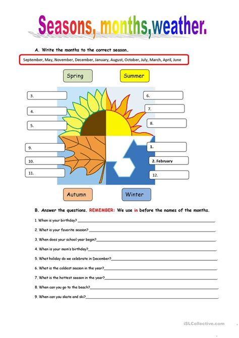 Seasons And Weather Worksheet  Free Esl Printable Worksheets Made By Teachers