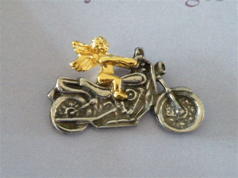 New On Card, Motorcycle Guardian Angel Pin, Tie, Lapel Or