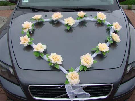 organza herz auto schmuck braut paar rose deko dekoration