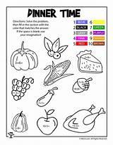 Coloring Math Dinner Thanksgiving Worksheets Worksheet Turkey Activities Send Woojr sketch template