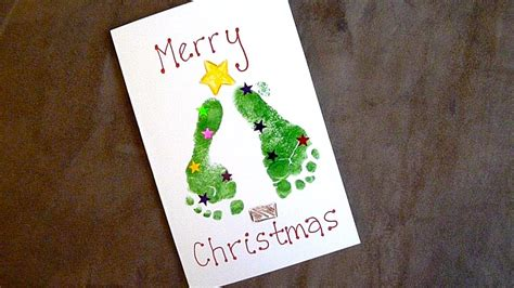 baby holiday craft easy footprint christmas cards youtube