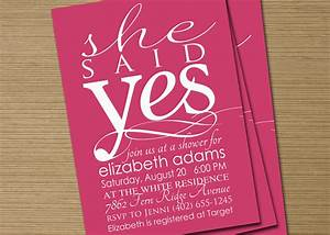 bridal shower invite printable she said yes by cardsetcetera With wedding shower invitations etsy