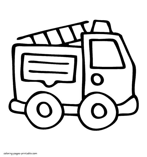 easy coloring page  fire truck coloring pages