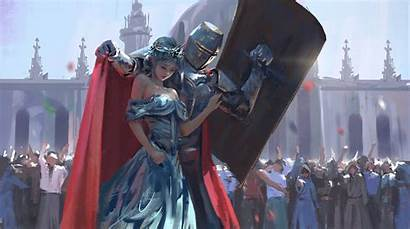Knight Princess Wlop Fantasy Painting Concept Artwork