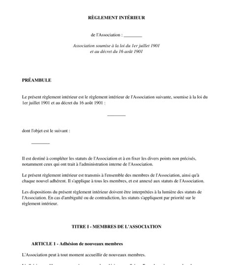 exemple reglement interieur association loi 1901 r 232 glement int 233 rieur d association mod 232 le word et pdf