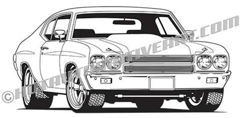 Royalty Free Clip Art 1970 Chevelle Muscle Car Art Front View