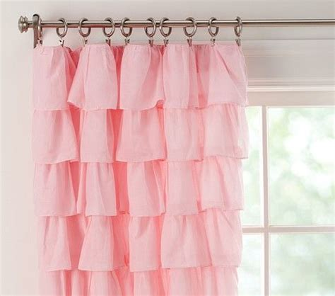 pink tiered ruffle nursery curtains with blackout panel