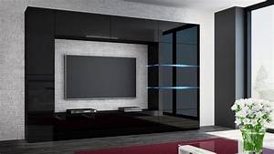 Tv Wand Modern : kaufexpert wohnwand shadow schwarz hochglanz 285 cm ~ Michelbontemps.com Haus und Dekorationen