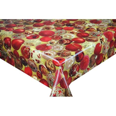 christmas baubles vinyl oilcloth tablecloth wipe clean
