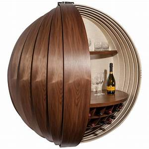 Contemporary Walnut Drinks Cabinet or Dry Bar, Wall ...