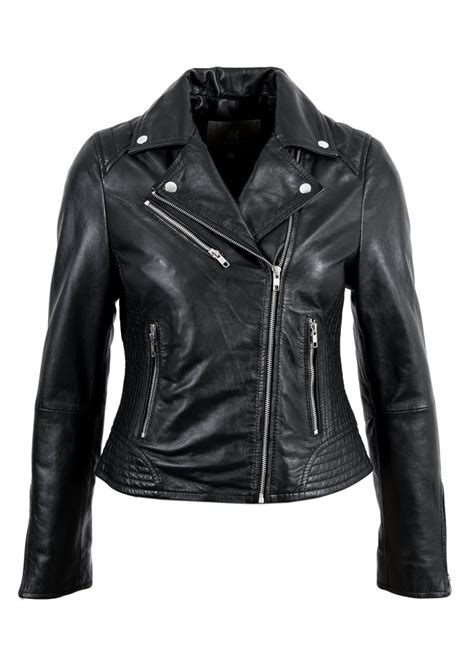 leather apparel nikki leather biker jacket in black lakeland leather