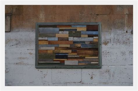 unique modern wall art frame  upcycled pallet wood