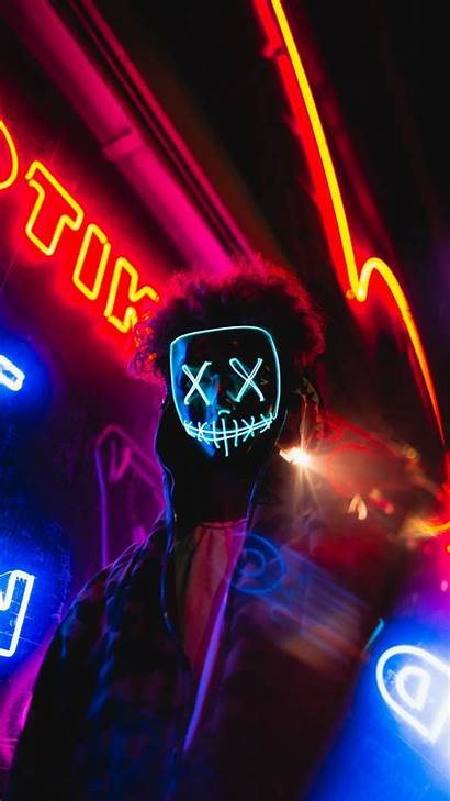 Mask Anonymous Neon Led Background Lights Galaxy