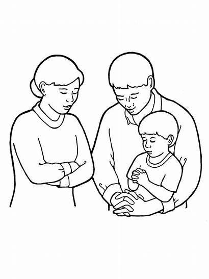Mother Father Son Kneeling Drawing Prayer Coloring