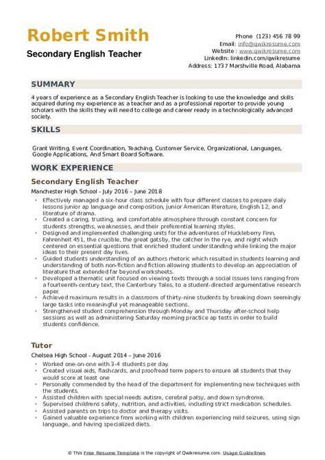 secondary english teacher resume samples qwikresume