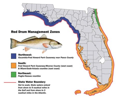 drum redfish florida fish nw limit bag northwest map fishing fwc zone management per north lowered starting zones changes april