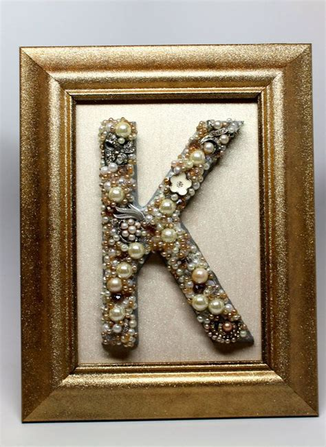 framed letter  hand   vintage  costume jewelry beads  gems recycled