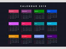 dark new year calendar for 2019 Download Free Vector Art