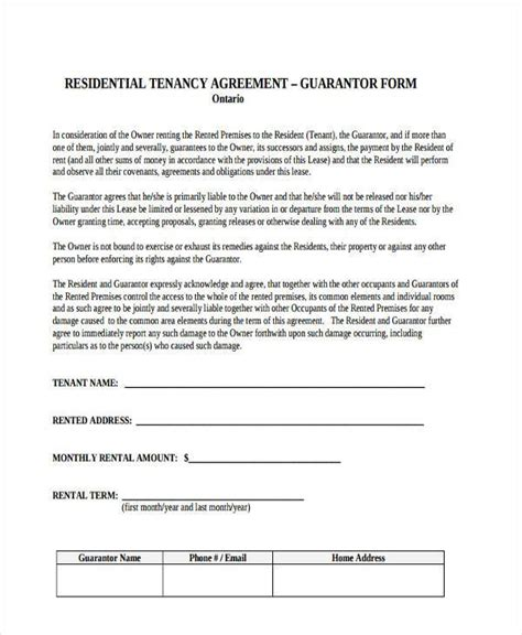 sample guarantor agreement forms   ms word