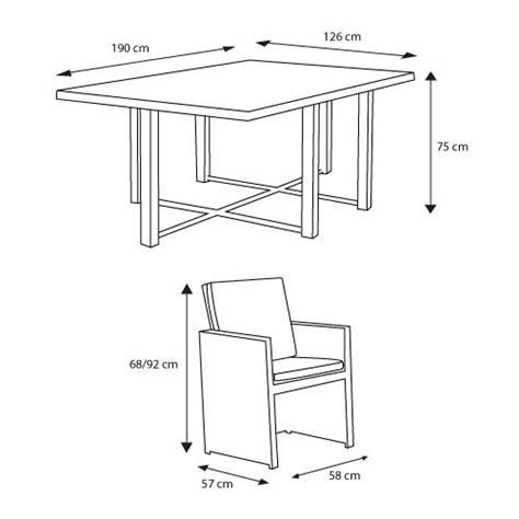 mesure d une chaise kähres mobilier de jardin