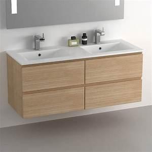 meuble salle de bain 120 cm chene 4 tiroirs plan With meuble salle de bain en chene clair
