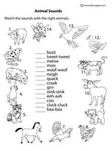 vocabulary 2nd grade animal sounds b w worksheet