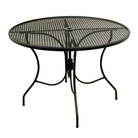 metal mesh top patio table arlington house glenbrook black 42 in round mesh patio