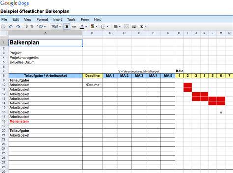 einfache balkenplaene mit ms excel erstellen und mit