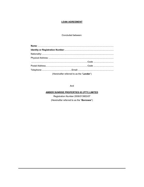 Free Loan Agreement Template by Loan Agreement Template Free Simple Loan Contract