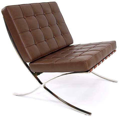 barcelona lounge chair brown leather mies der rohe ebay