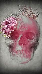 Skull with pink roses and crown | sugar skulls | Pinterest ...