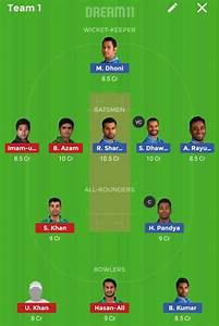 IND vs PAK 5th Match Dream11 Fantasy Cricket team- Today ...