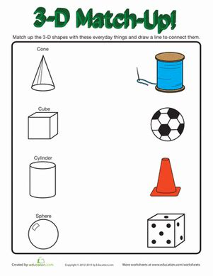 3d shapes in real worksheet education
