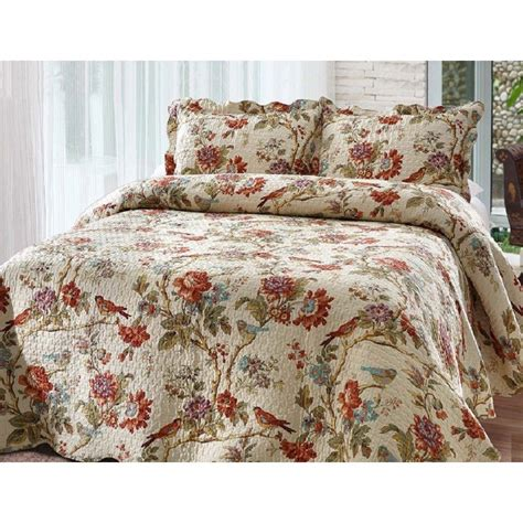 Floral Bedspreads by Quilt Set Size Bedding Reversible Floral Scalloped